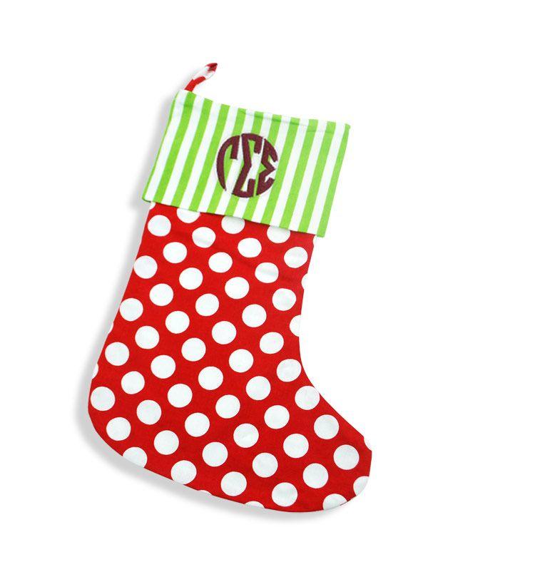 Gamma Sigma Sigma Circle Monogram Dottie Christmas Stocking