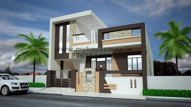 Modern elevation design of residential buildings house for Indian home front design