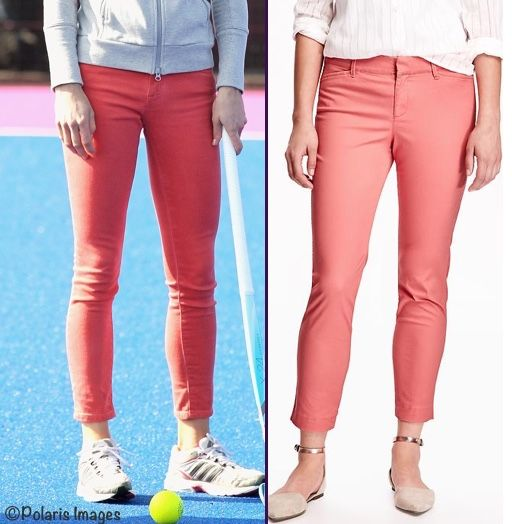 """With thanks to a reader named Maddie for the tip, these Old Navy Pixie Jeans are a great stand-in for the Zara coral jeans worn to the Olympic Park in 2012. The color we show is 'Mango Magic,"""" the jeans are $22.97."""