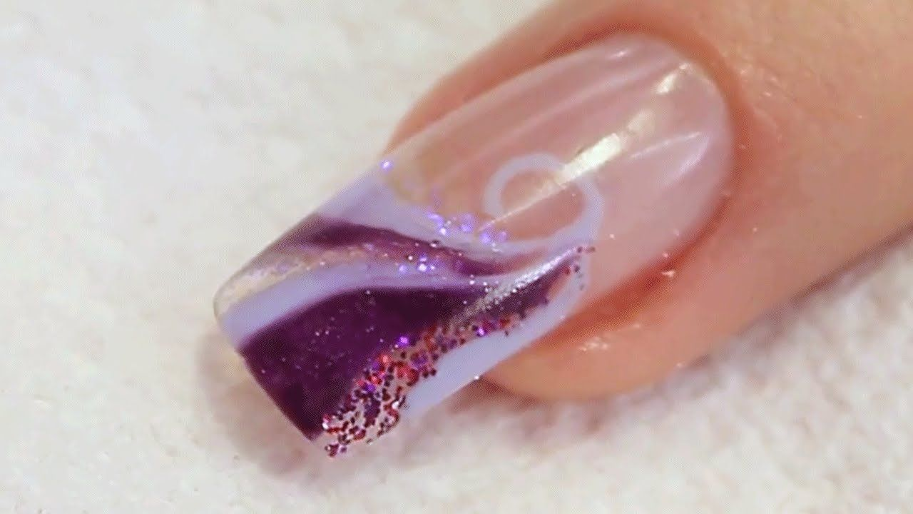 Glitter And Uv Gel Swirl Nail Design Tutorial Video By Naio Nails
