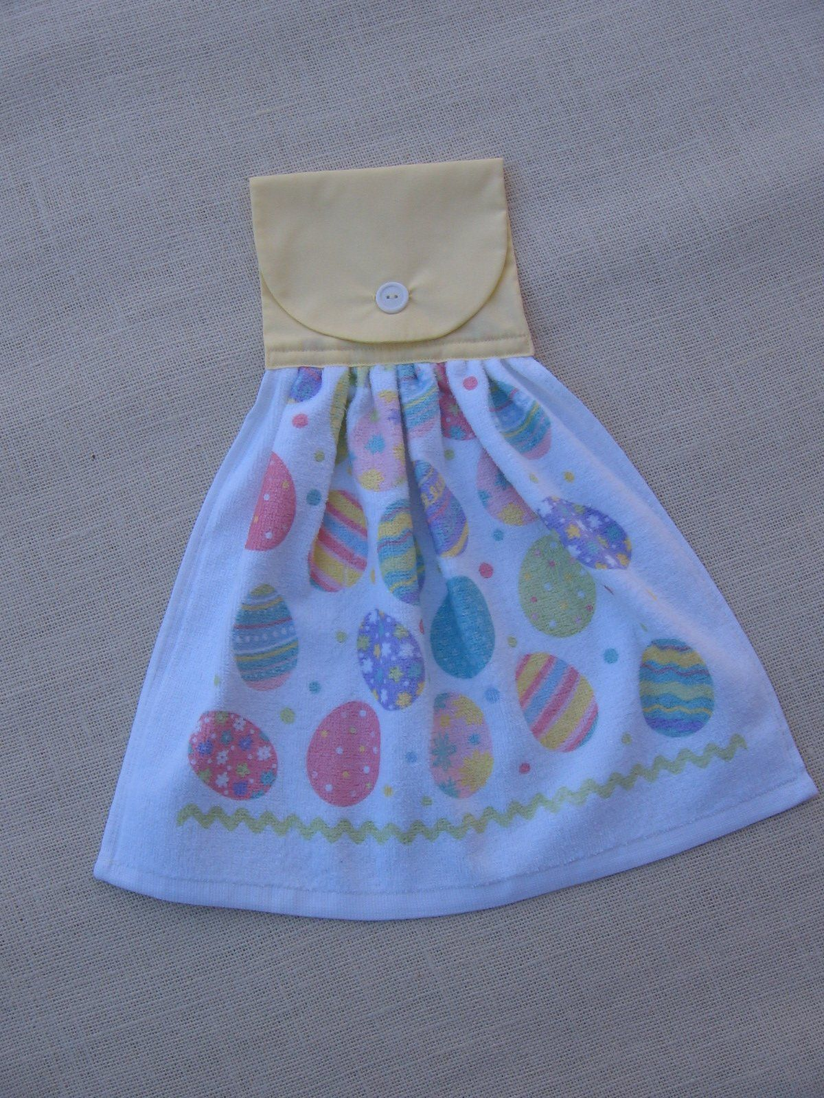 Easter Hanging Kitchen Towel With Pastel Eggs Yellow Easter