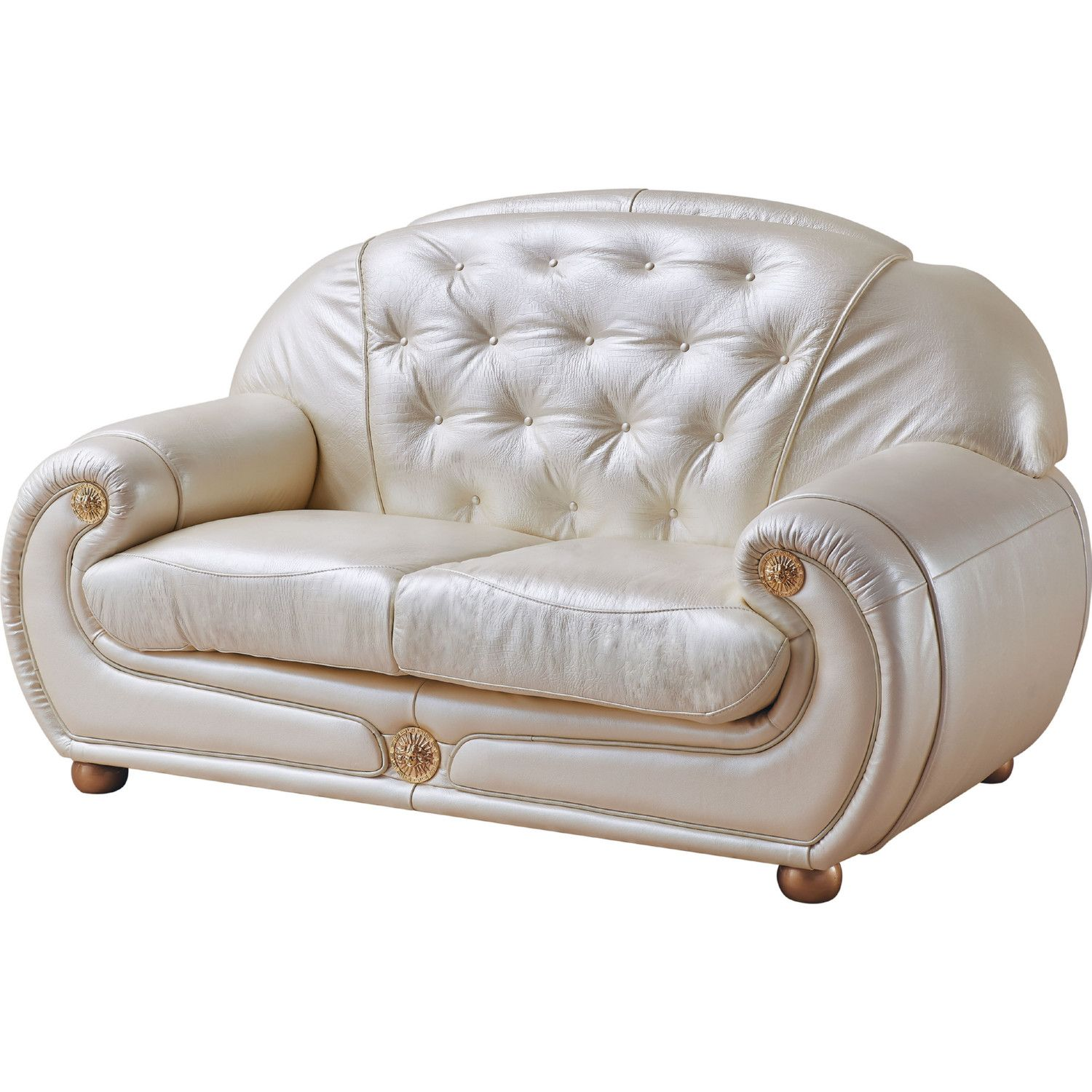 Admirable Giza Loveseat In Tufted Beige Ivory Leather By Esf Furniture Uwap Interior Chair Design Uwaporg