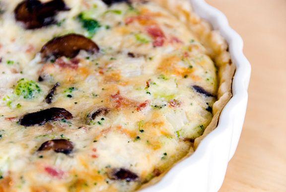 quiche--mushrooms, bacon, broccoli