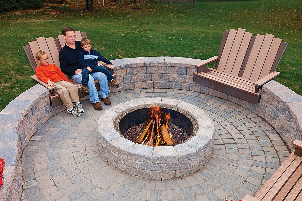 6 rustic double face wall and fire pit rustic cobble