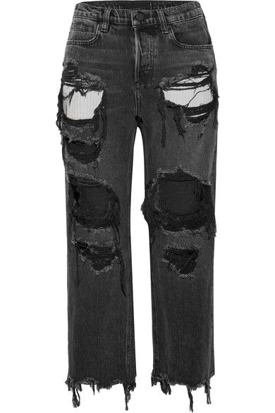 1ee6e57658d6 Alexander Wang - Rival Cropped Distressed High-rise Straight-leg Jeans -  Charcoal