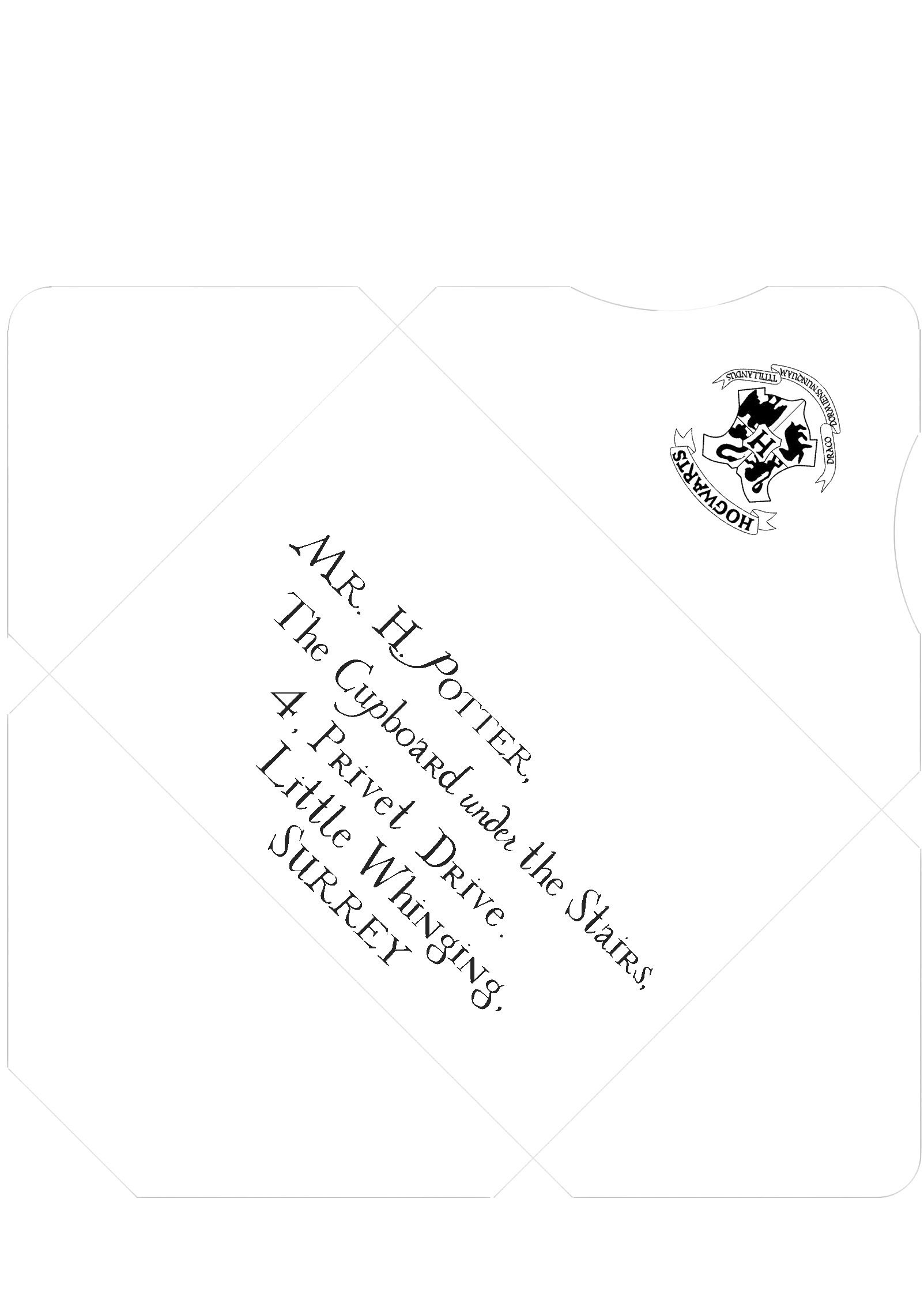 Harry Potter Inspired Addressed And Sealed Envelope Template Print On Parchment Paper