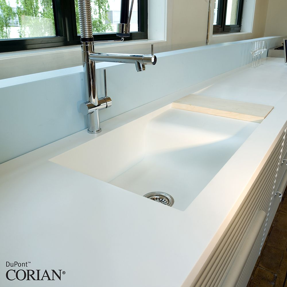 corian white kitchen with bespoke sink | countertops | Pinterest ...