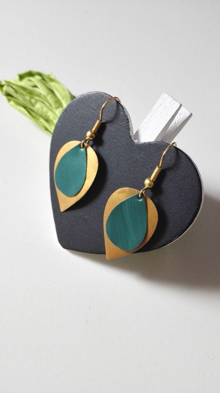 Boucles d'oreilles feuilles Nespresso verts dorés graphiques féériques : Boucles d'oreille par miss-perles