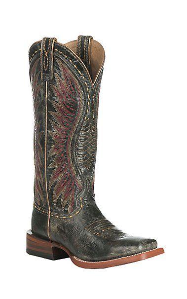 5c3544b7fbb3 Ariat Women s Vaquera Castlerock Black Western Square Toe Boots ...