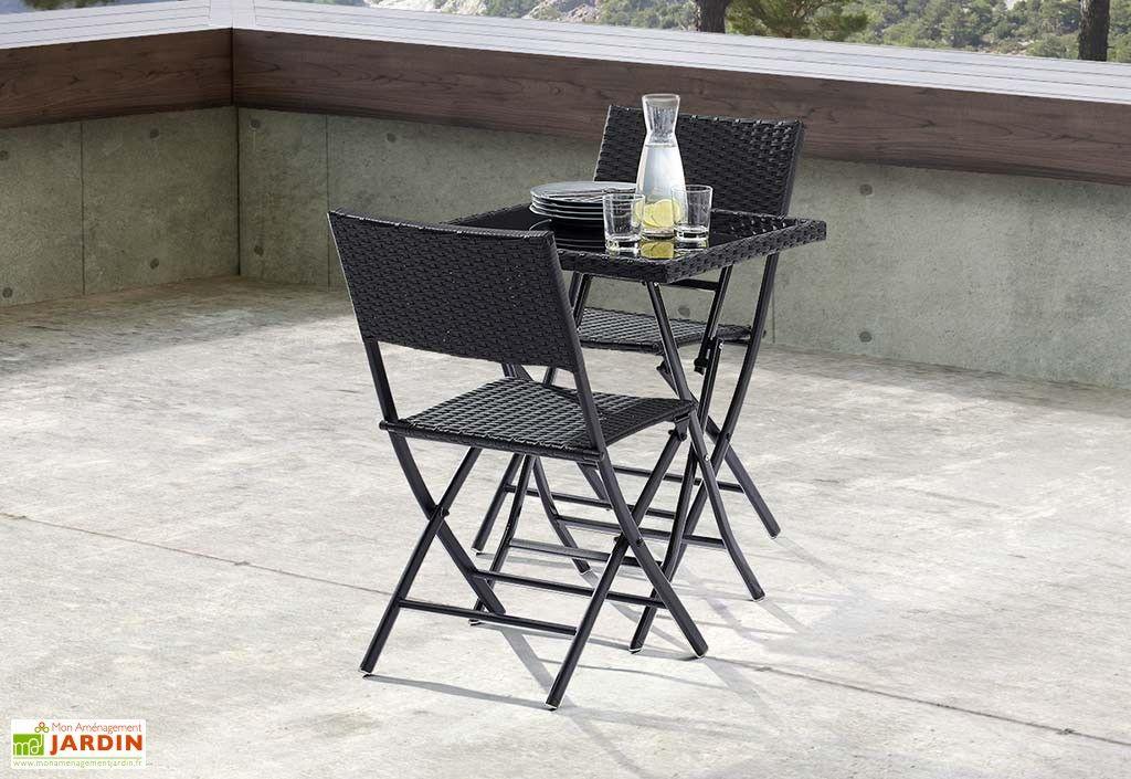 Salon de Jardin Pliant Verre et Wicker : Table + 2 Chaises ...