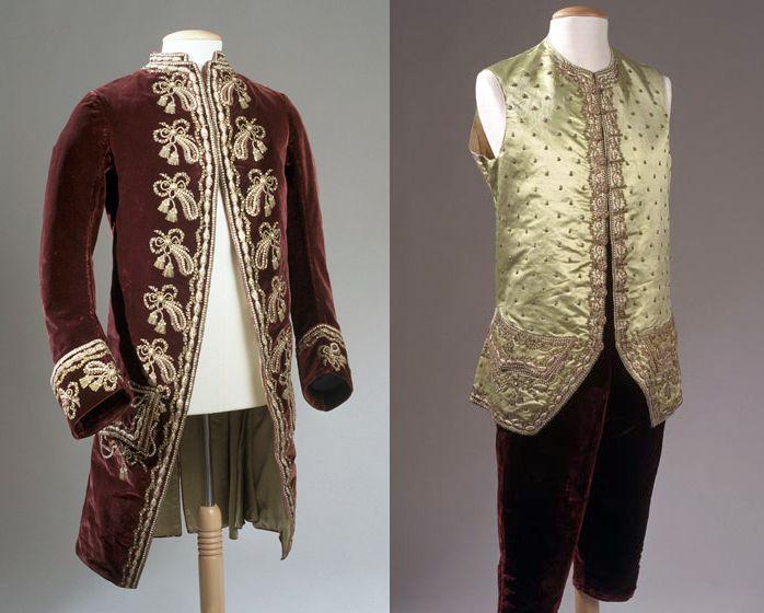 Suit (Frockcoat, waistcoat and breeches), 1770, (made London), Wales, velvet, gold embroidery, silk. Owned by Sir Watkin Williams-Wynn (1749-1789) of Wynnstay. Plum velvet frockcoat with gold spangle embroidery, embroidered silk waistcoat, and plum velvet breeches. National Museum Wales. http://www.museumwales.ac.uk/en/rhagor/article/1868/