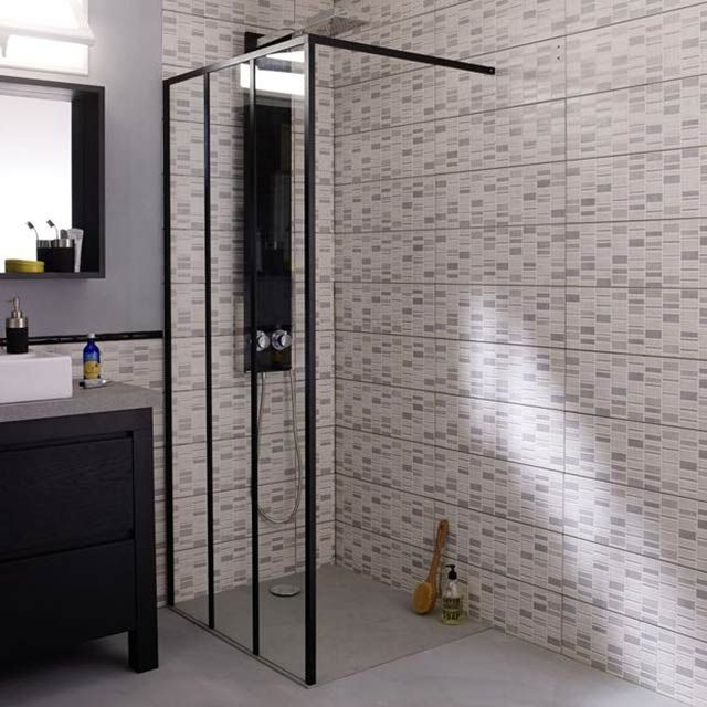 paroi douche industrielle verre castorama d co maison jardin pinterest bath room and bath. Black Bedroom Furniture Sets. Home Design Ideas