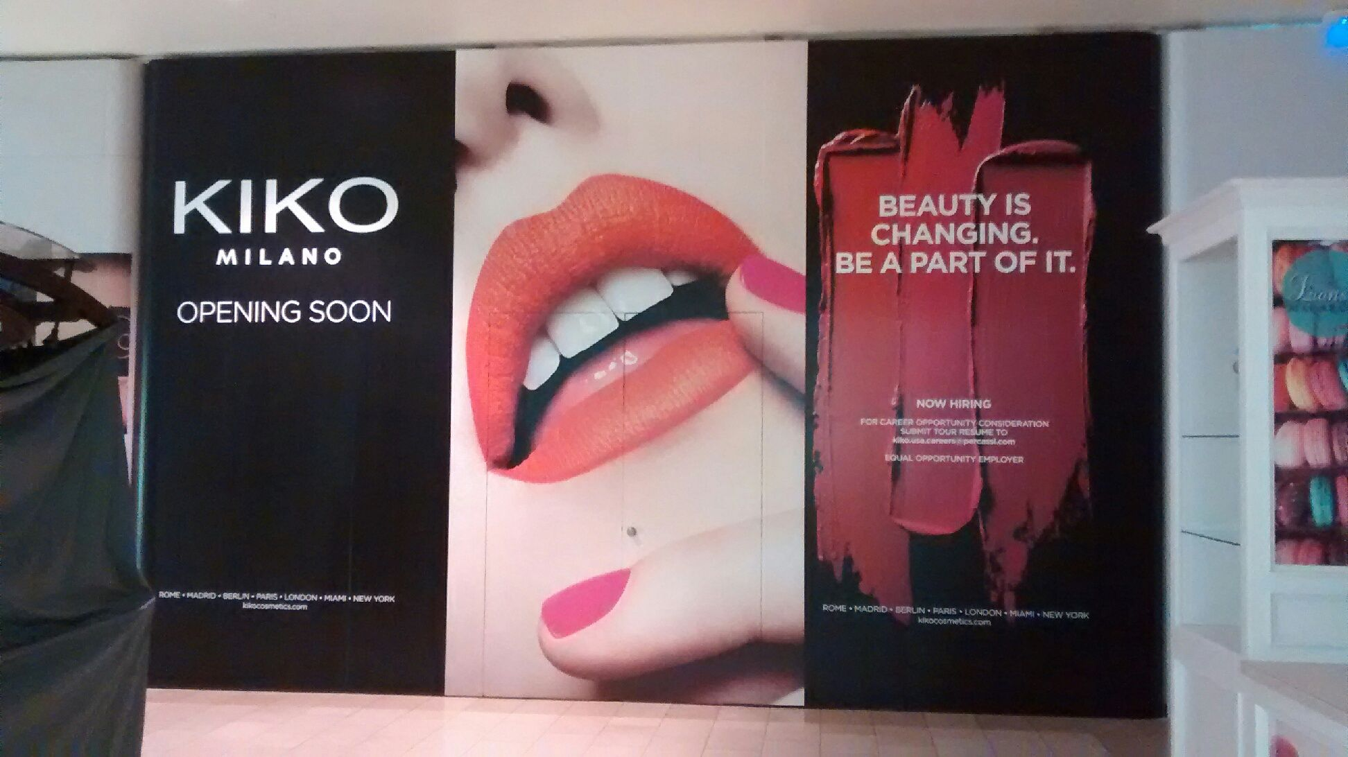 Kiko is opening at The Oaks Mall in California. Here's the barricade and graphic that we designed to hide construction and generate excitement for the grand opening!