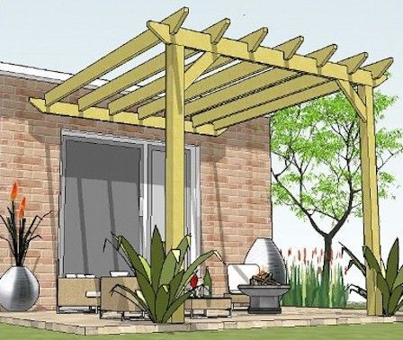 Copyright Image A Fantastic Attached Lean To Pergola Made From The Step By Step Pergola Plans Outdoor Pergola Pergola Plans Backyard Pergola