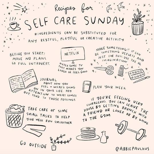 Self Care Sunday 8x8 Art Print - self love illustration
