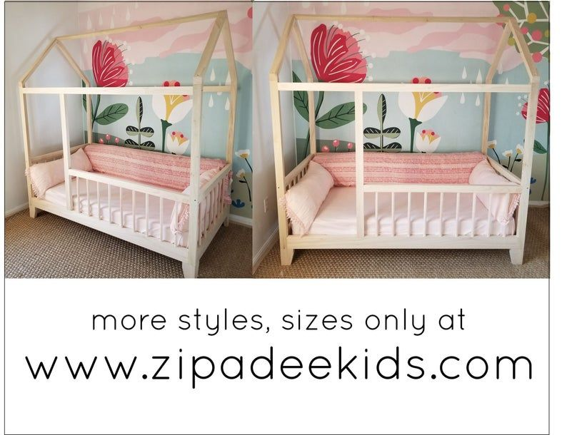 Montessori Floor Bed With Rails & slats Twin Size Etsy