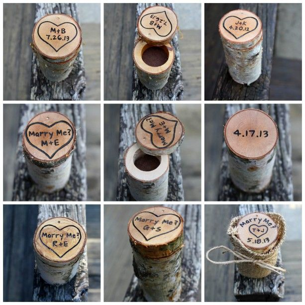 Log Ring Box White Birch or Maple Personalized Rustic Ring Holder