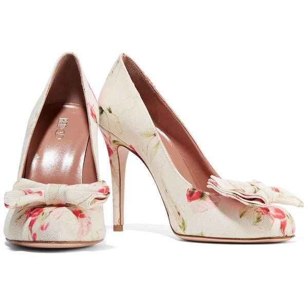3df9ff46656 REDValentino - Bow-embellished Floral-print Canvas Pumps ( 191 ...