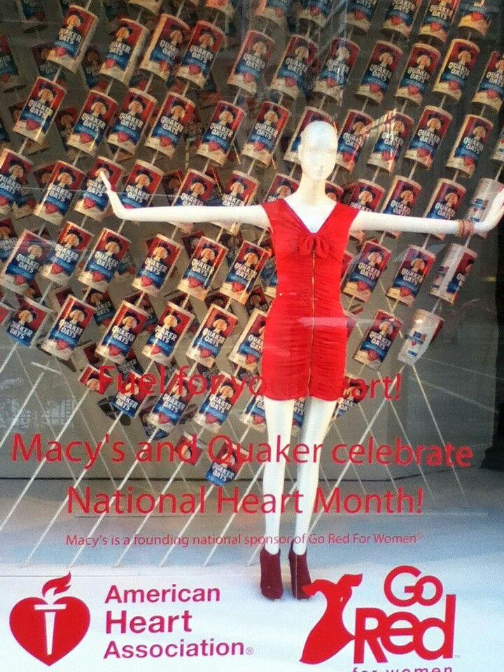 "Macys ""Go Red"" National Heart Month Window Display"
