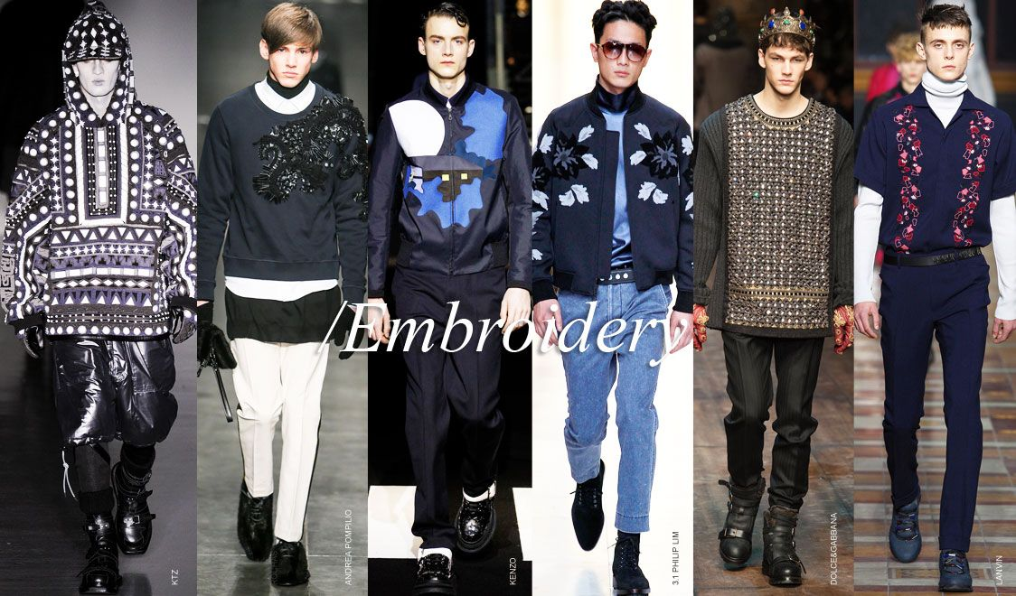 8dcc47f92 Men trends review Fall Winter 2014-2015: Embroidery   Trends for Men ...