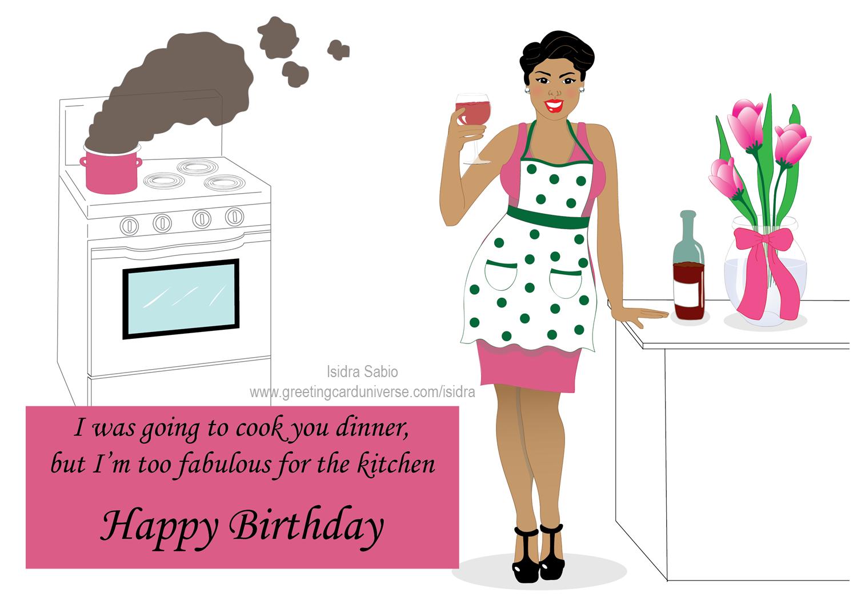Happy Birthday Beautiful Curvy Woman Having Wine In The Kitchen