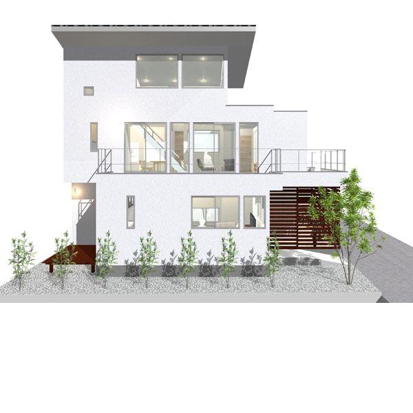 東京 小平のデザイン住宅 住宅設計 南側立面図 デザイン住宅の外観