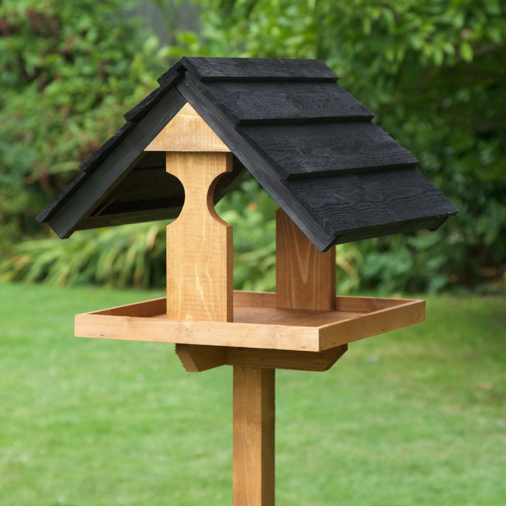 Home & Roost  Free Standing Sarre Black Garden Bird Table  Bird