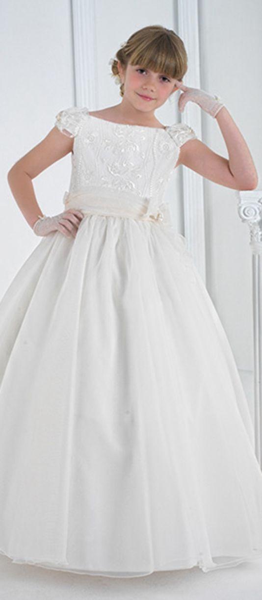 Nectarean SheathColumn Jewel Short Sleeve Lace Ruffles SashesRibbons Floorlength Lace Satin Organza Tulle #FlowerGirl Dresses