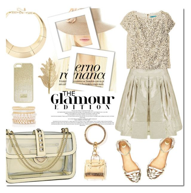 """Gold Glamour"" by justlovedesign ❤ liked on Polyvore featuring River Island, House of Cannon, Alice + Olivia, Forever New, Swarovski, ALDO, Colette Malouf, Alexander McQueen, hastings and tinapham1"