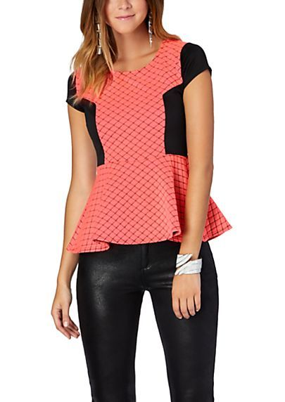 image of Two-Tone Quilted Peplum Top