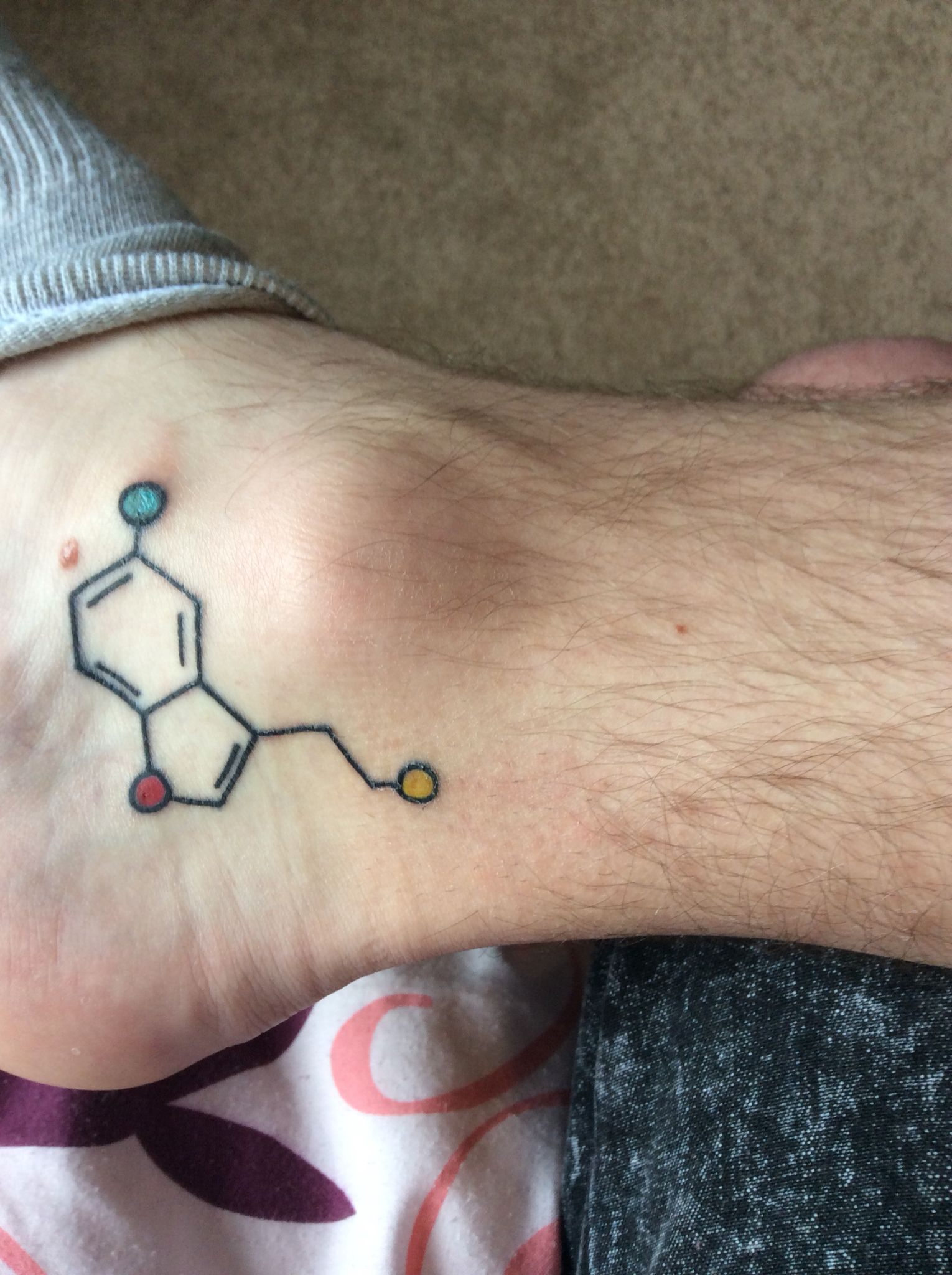 Photo of Serotonin Molecule Tattoo @ Inked Up Chester – 3/4/15