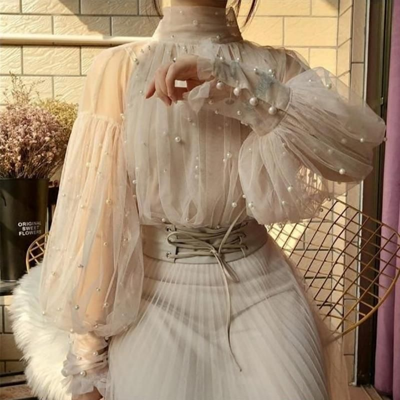 Women's VintageSee-through Pearl Bubble Sleeves Blouse