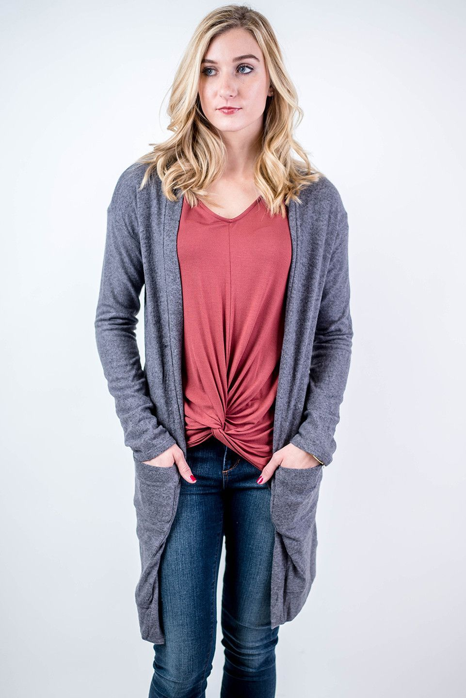 Believe me when I say our Grey Long Sleeve Pocket Cardigan is the softest piece around! Stay comfortable in class or at the pumpkin patch in this cardigan while paired with a scarf, skinny jeans, and booties!  Grey Long Sleeve Pocket Cardigan - Single Thread Boutique, $39.90 #grey #long #sleeve #pocket #cardigan #ultra #soft #comfort #knit #fabric #open #draped #style #side #pockets #womens #fashion #winter #fall #trendy #singlethreadbtq #shopstb #boutique