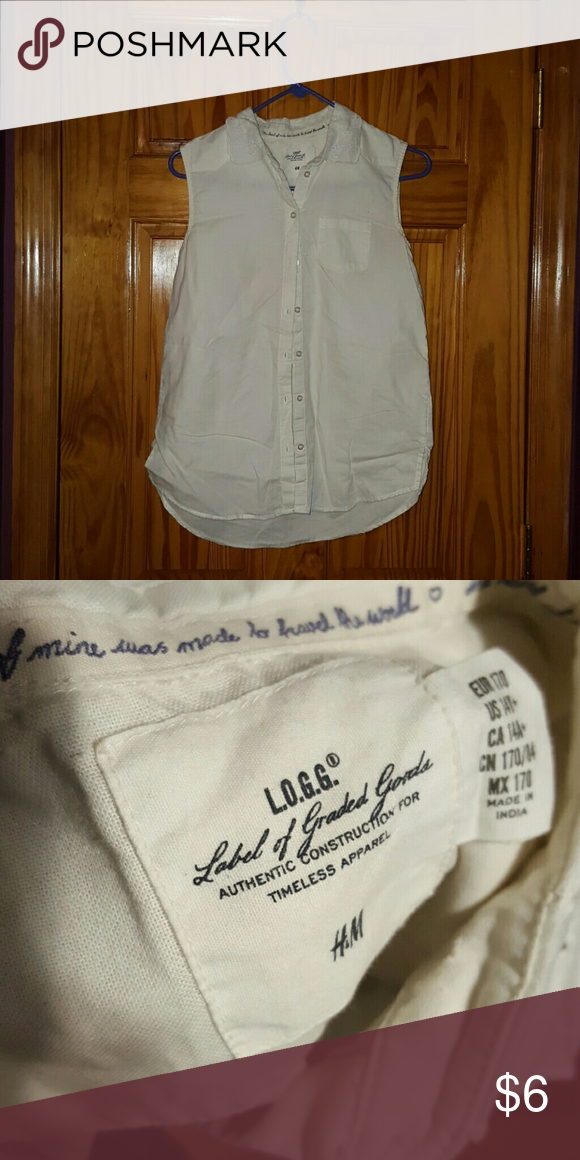 H&M sleeveless white button down Sleeveless white button down with lace collar from H&M  Size 14Y+ H&M Tops Button Down Shirts