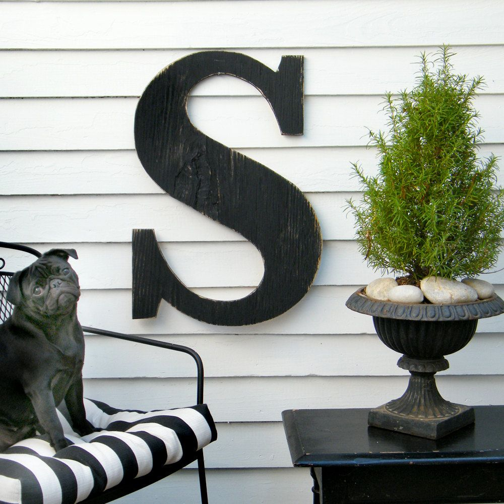 "Large Outdoor Wall Letters 24"" Extra Large Letter Large Wood Letters Shabby Chic Rustic"