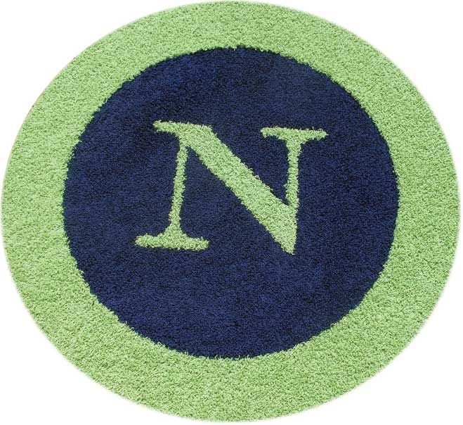 Monogram Rug In Navy With Lime Green