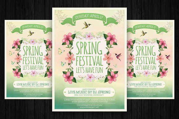 Spring Festival Flyer Template by Briell Design on @creativemarket