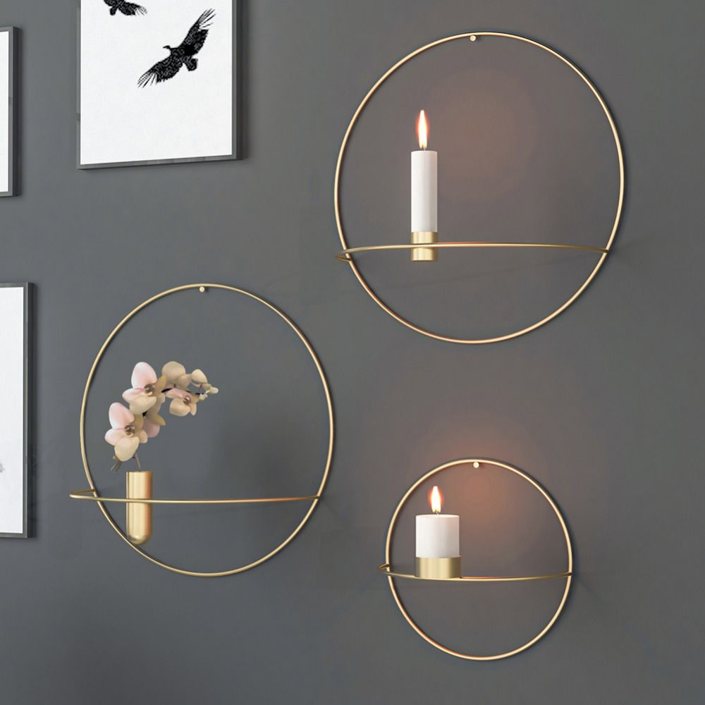 Cheap Candle Holders Buy Directly From China Suppliers Nordic Style 3d Geometric Round Candlestick Metal Wall Art Living Room Wall Candle Holders Wall Candles