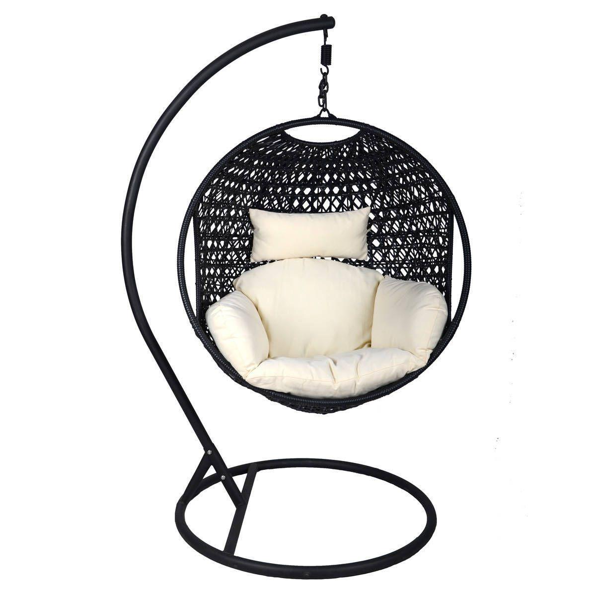 Charles bentley garden black rattan pod swing chair swinging chair