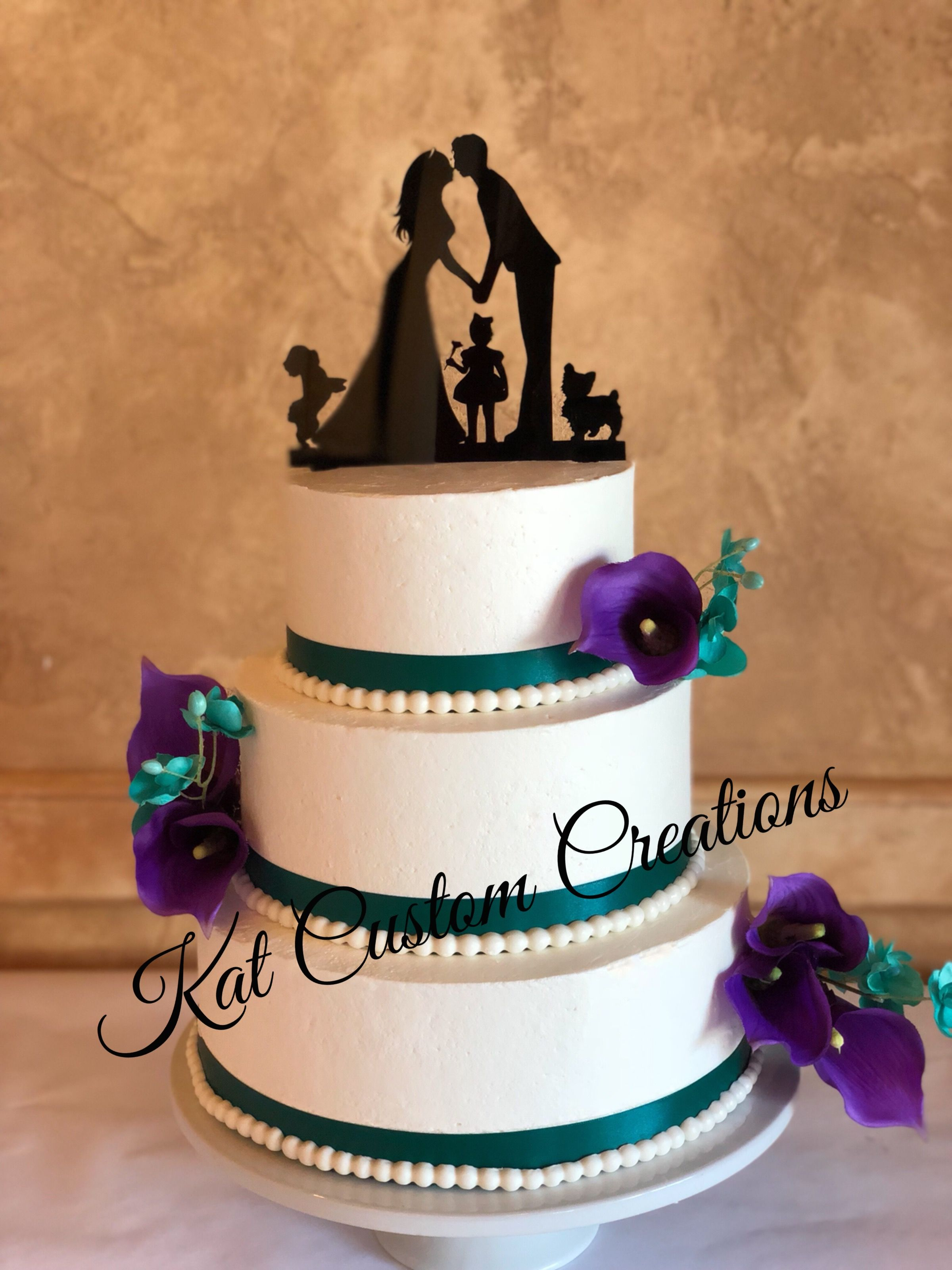 Turquoise And Deep Purple Calla Lily Wedding Cake Calla Lily