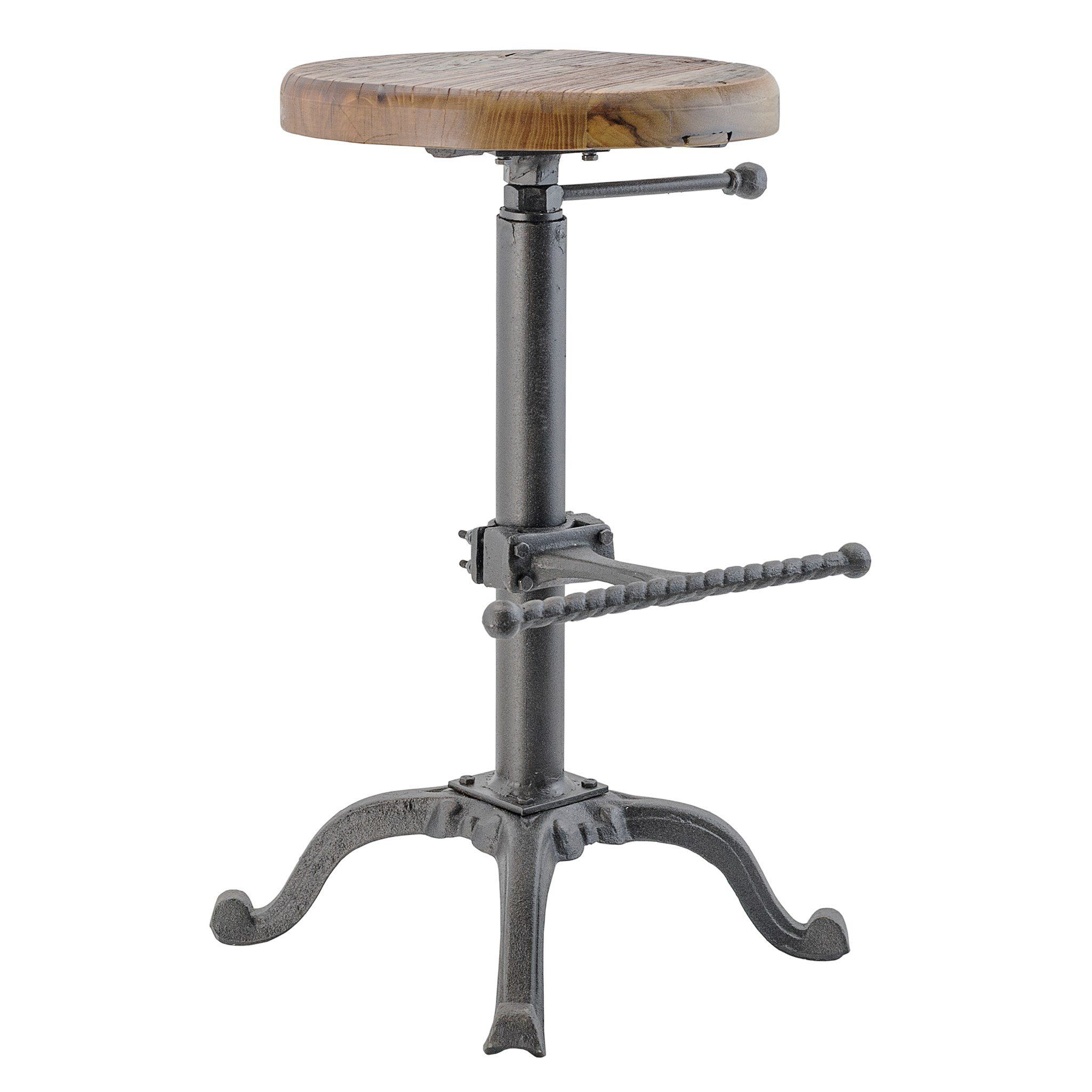 Industrial Cast Iron And Solid Wood Adjustable Counter Bar Stool With Footrest Adjustable Bar Stools Counter Bar Stools Bar Stools