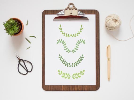 Photo of GREEN LAURELS CLIPART, hand-drawn wreaths, doodle clipart, floral wreaths, rustic, drawn wreaths, pn