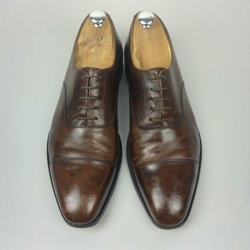 Crockett & Jones Hallam Brown Handgrade Calf Leather Shoes ...