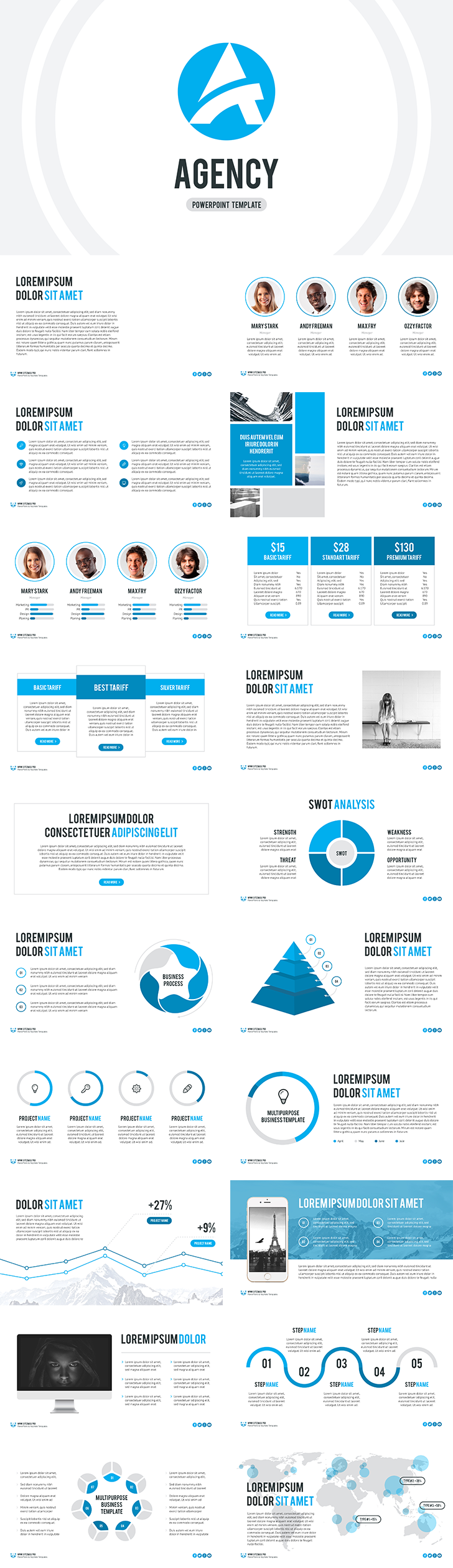 the agency free powerpoint template is a full set of necessary, Presentation templates