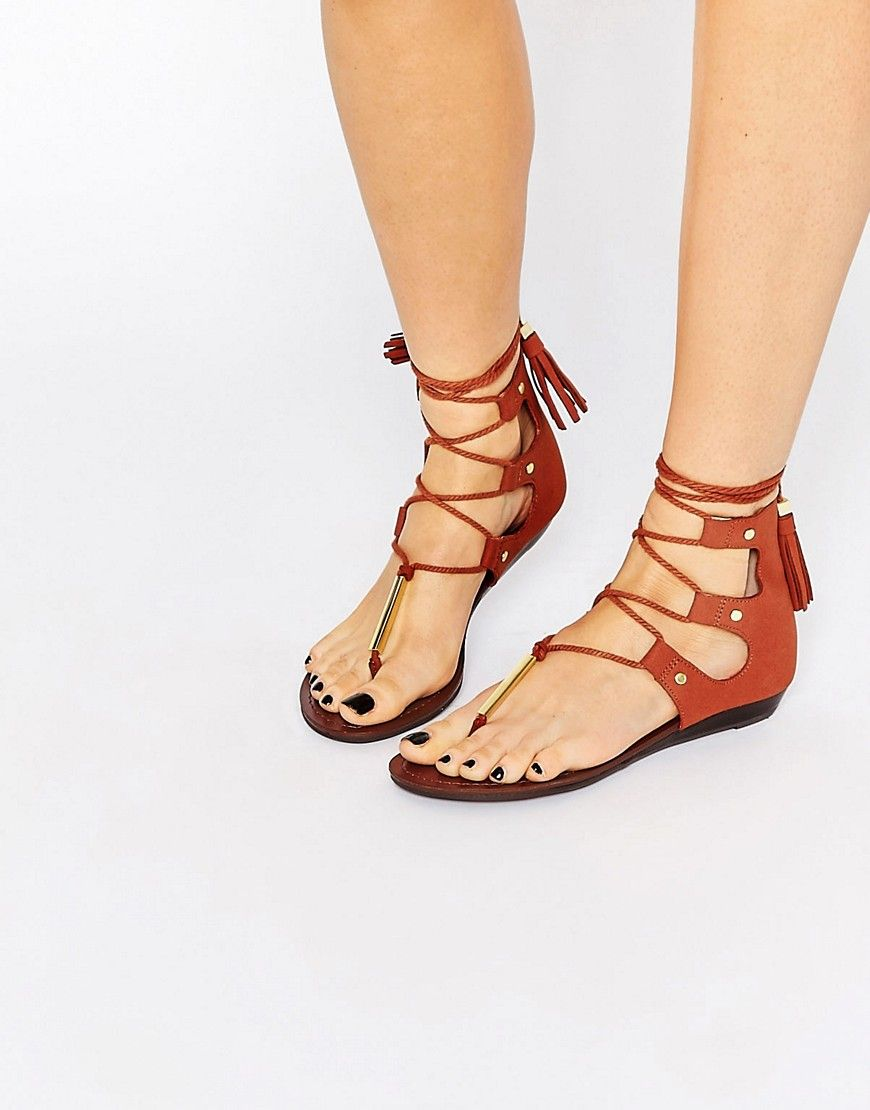 0dd2eabad ALDO Jakki Rust Gladiator Tassel Flat Sandals Low Heel Sandals