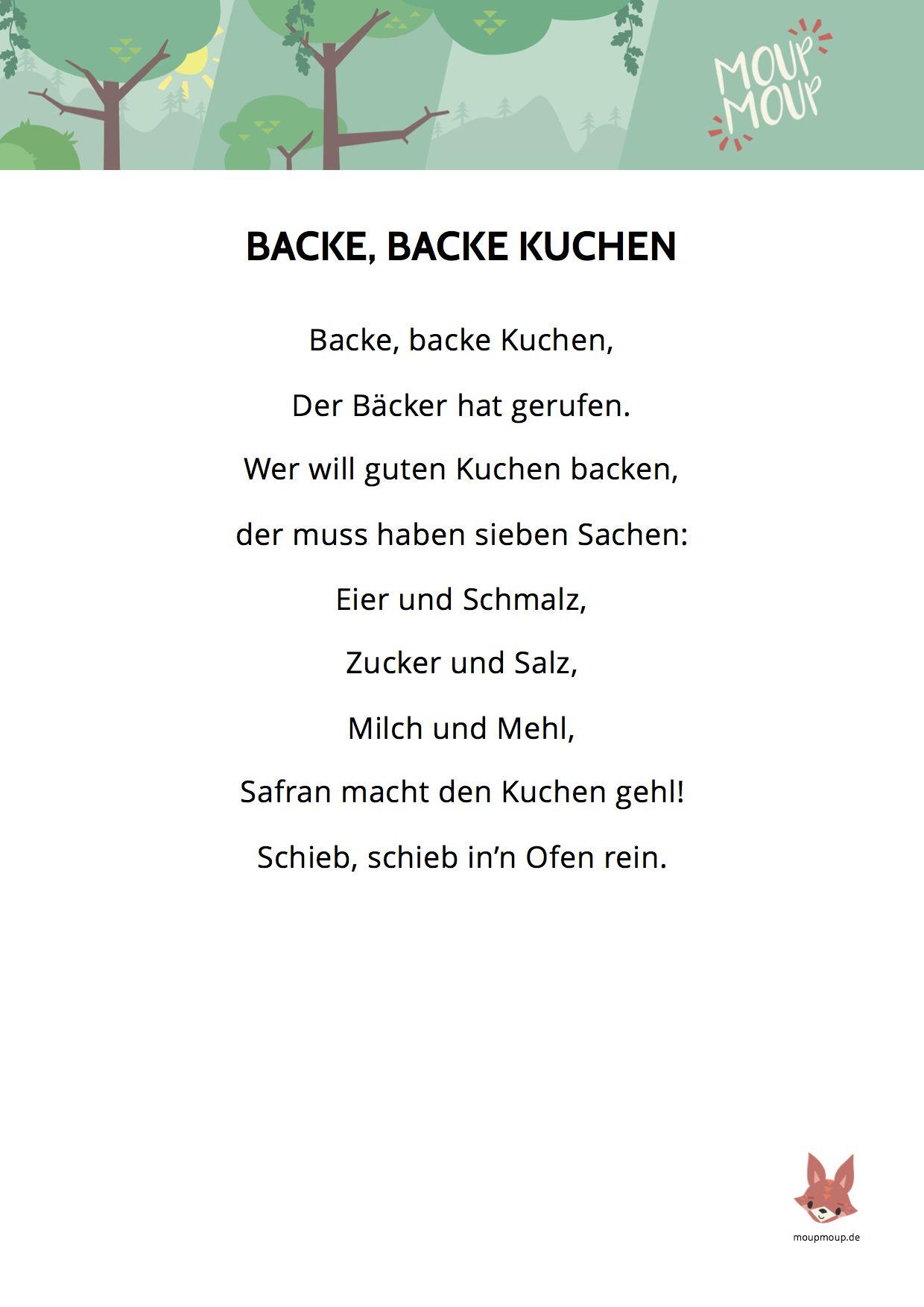 Backe Backe Kuchen Lied Liedtext Moupmoup Kinderlieder Kinder Lied Kinderlieder Kindergarten Lieder