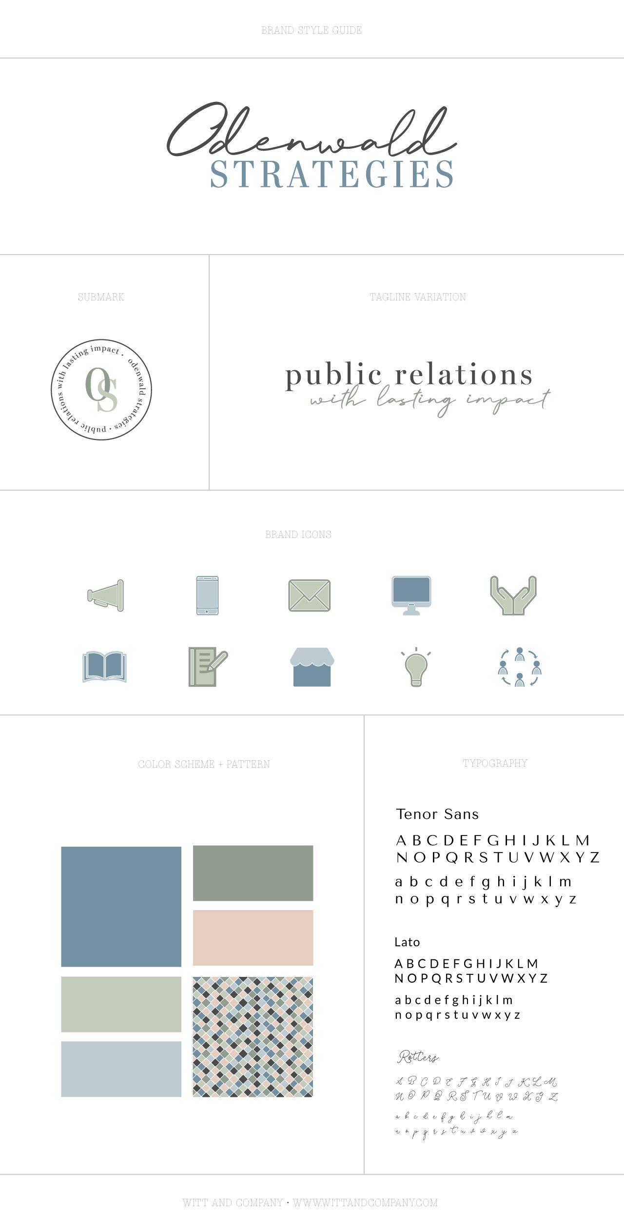 Odenwald Strategies Brand Design Reveal Witt And Company Visual Brand Design For Cons In 2020 Logo Branding Board Branding Design Brand Inspiration Board