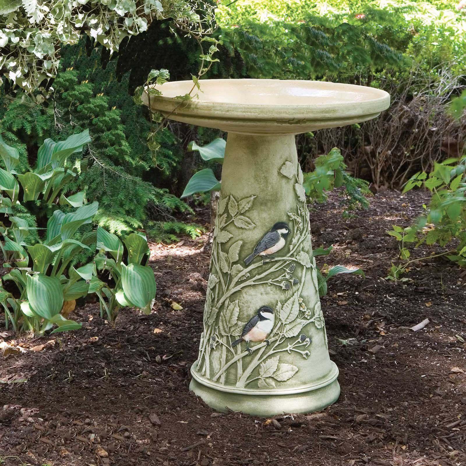 burley clay hand painted chickadee ceramic bird bath from