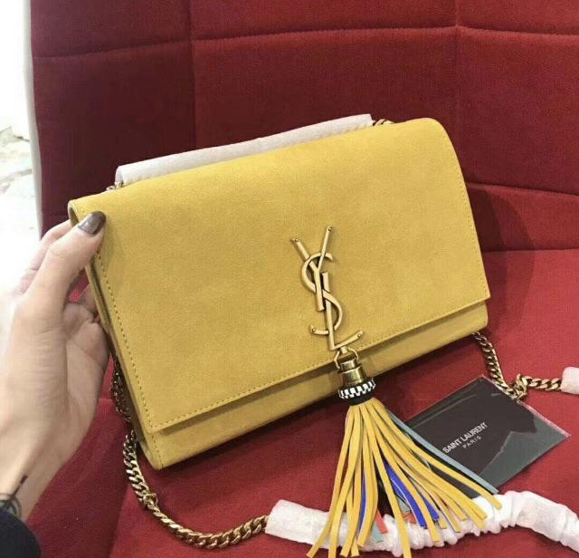 YSL Inspired Yellow Suede Kate Monogram Tassel Clutch Handbag  blogger   handbag  celebrity   9297dbb4a23d5