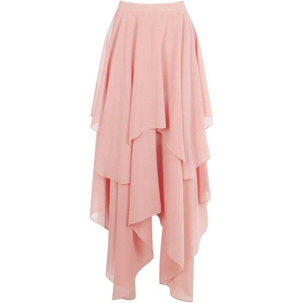 Boohoo Indie Ruffle Hem High Low Chiffon Maxi Skirt (305 MXN ...